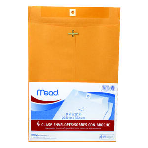 Mead  9 in. W x 12 in. L Other  Brown  Envelopes  4 pk