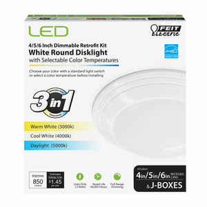 Feit Electric  White  4, 5 and 6 in. W LED  Disklight Retrofit Kit  12 watts