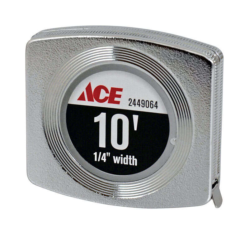 Ace  10 ft. L x 0.25 in. W Pocket  Tape Measure  Chrome  1 pk
