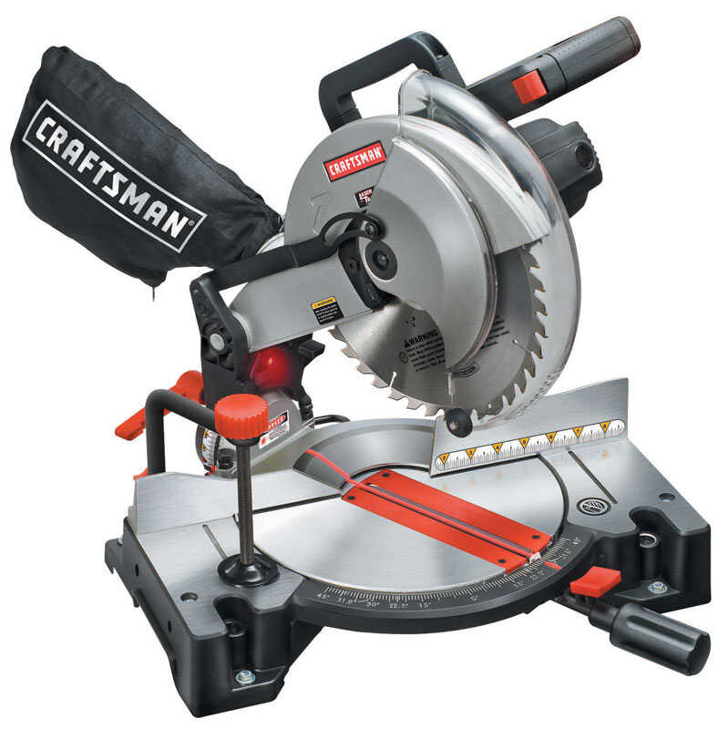Craftsman  10 in. Corded  Compound Miter Saw with Laser  Kit 120 volt 15 amps 4,800 rpm