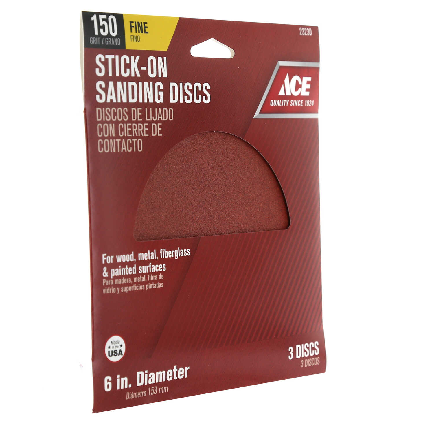 Ace  6 in. Adhesive  Sanding Disc  150 Grit 3 pk Aluminum Oxide  Fine
