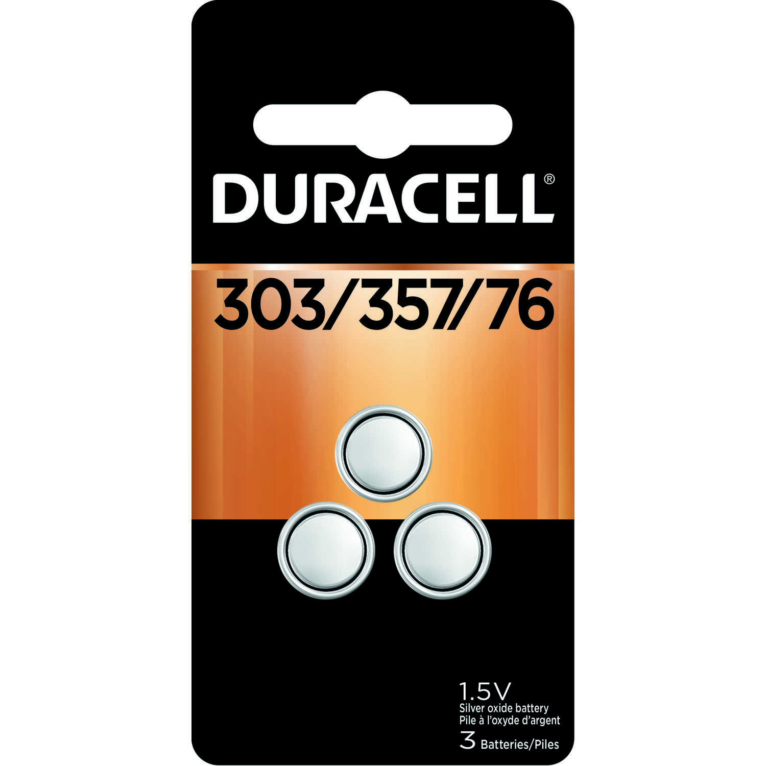Duracell  Silver Oxide  303/357/76  1.5 volt Electronic/Watch Battery  3 pk