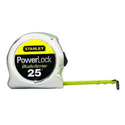 Stanley  PowerLock  25 ft. L x 1 in. W Tape Measure  Silver  1 pk