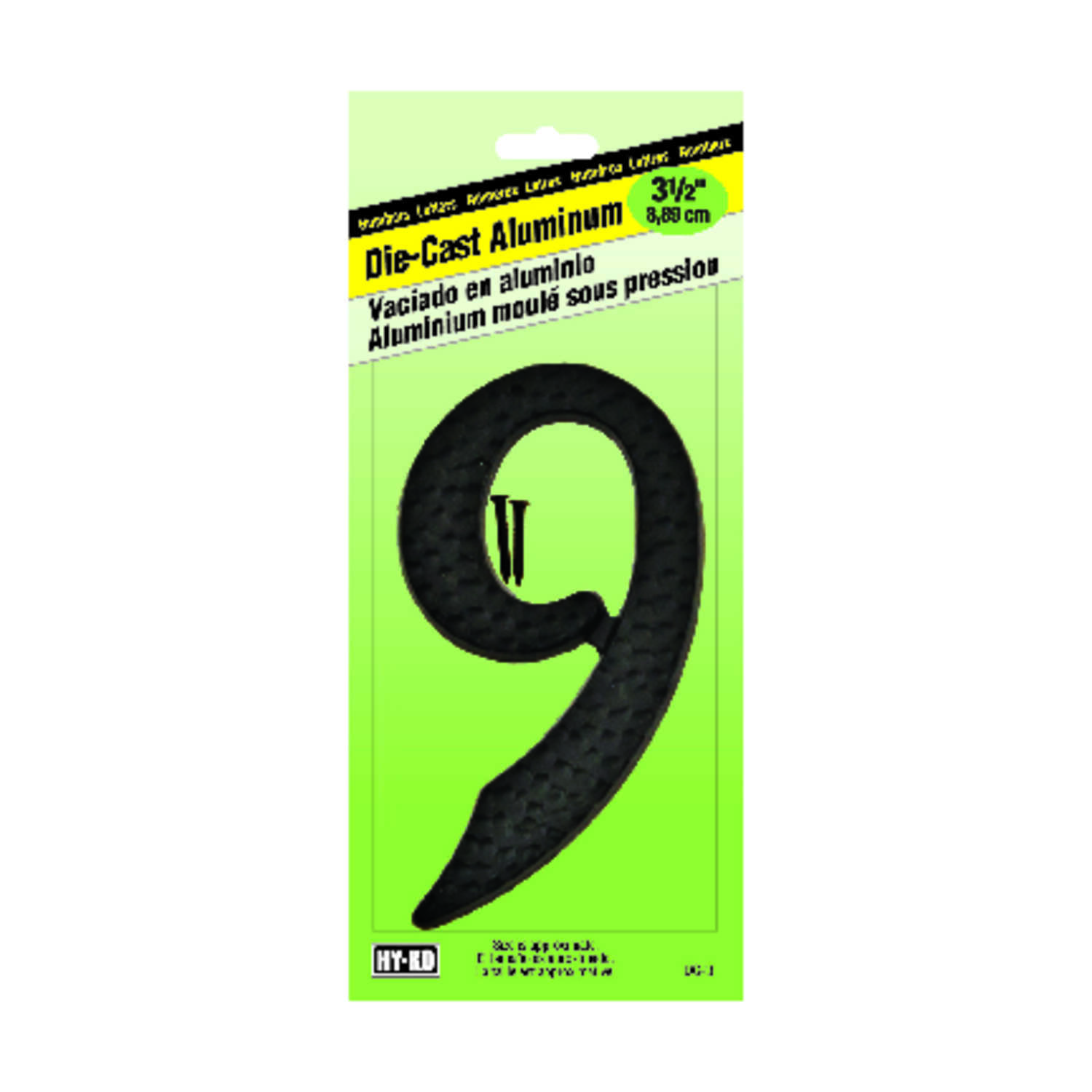 Hy-Ko  3-1/2 in. Black  Number  Nail-On  9  Aluminum