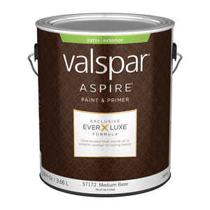 Valspar  Aspire  Satin  Tintable  Medium Base  Acrylic Latex  Paint and Primer  Outdoor  1 gal.