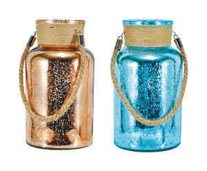 Mark Feldstein  10 in. H Mercury Glass  Rose Gold and Blue  Canisters with Jute Handle