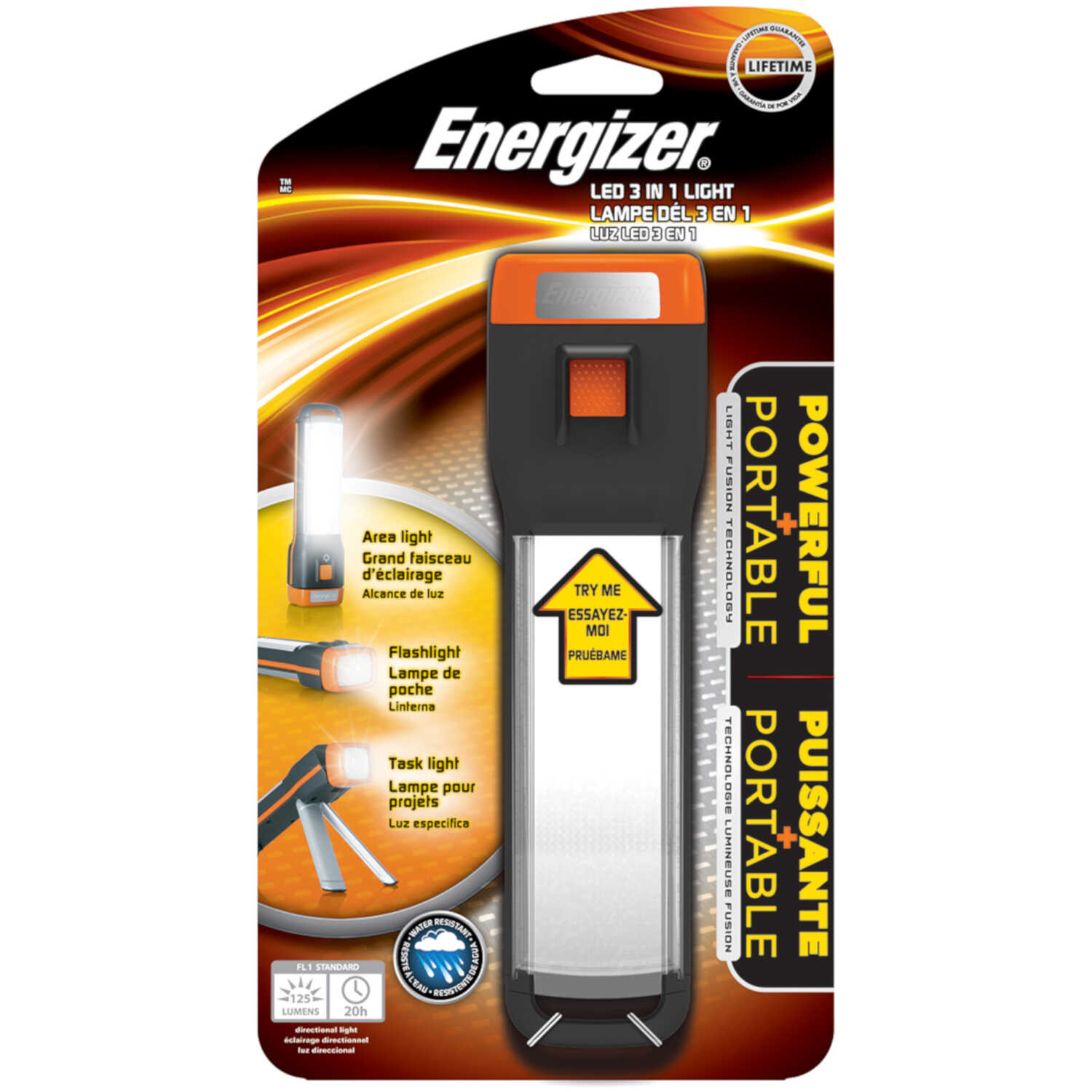 Energizer  3-in-1  150 lumens Black/Gray  LED  Flashlight  AA Battery