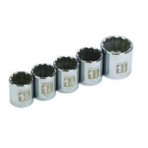 Craftsman  Assorted in.  x 1/2 in. drive  SAE  12 Point Socket Set  5 pc.