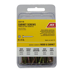 Ace No. 8 x 3 in. L Phillips Yellow Zinc-Plated Cabinet Screws 50 pk