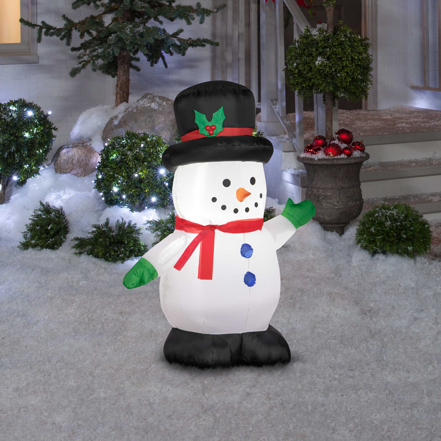 Gemmy  Gemmy  Snowman  Christmas Inflatable  White  Polyester  42.13 in. 1 pk