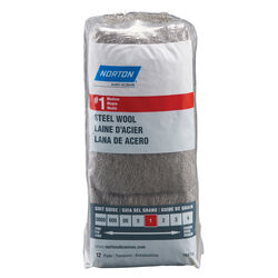 Norton  1 Grade Medium  Steel Wool Pad  12 pk