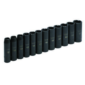 Craftsman  Easy-to-Read  27 mm  x 1/2 in. drive  Metric  6 Point Impact Socket Set  12 pc.