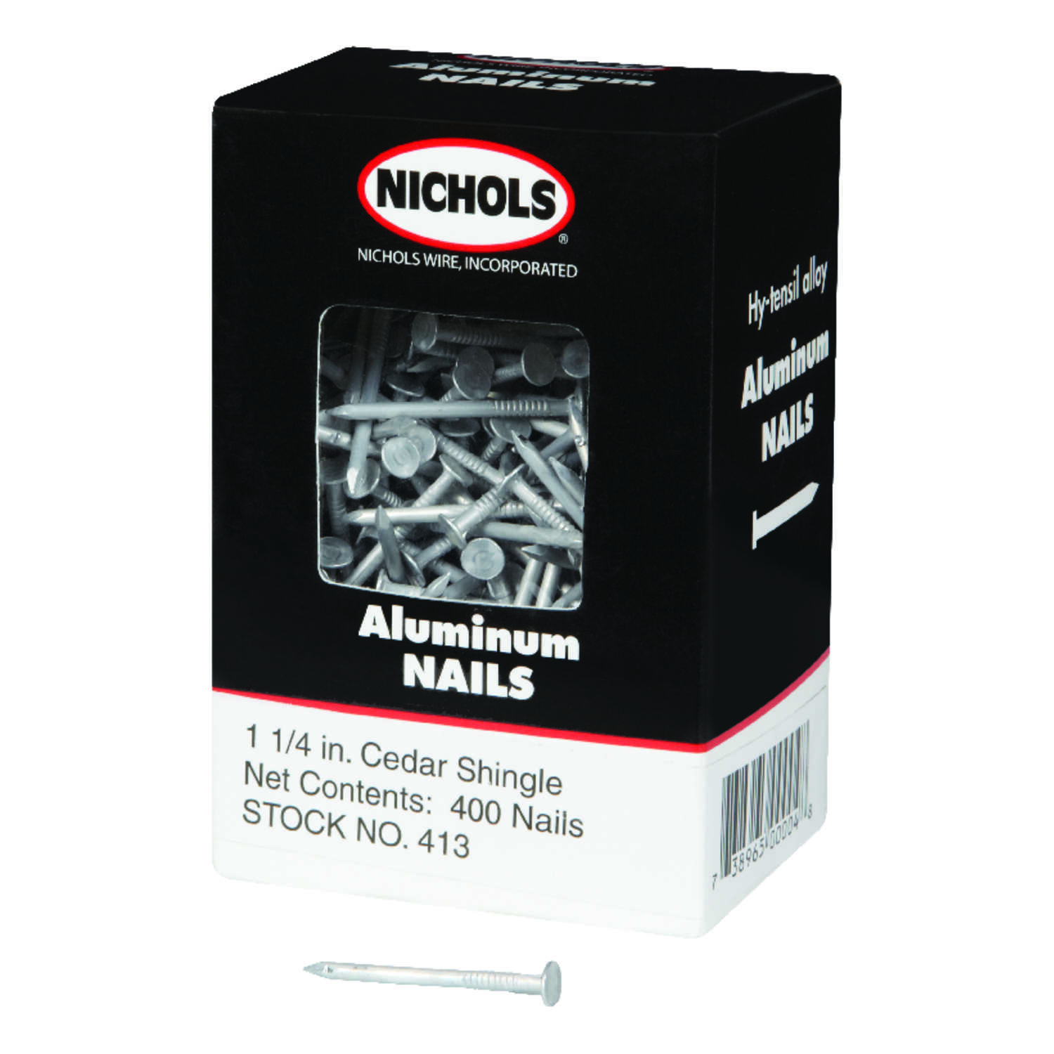 Nichols Wire  1-1/4 in. L Shingle  Aluminum  Nail  Round Head Smooth Shank  400  1 lb.