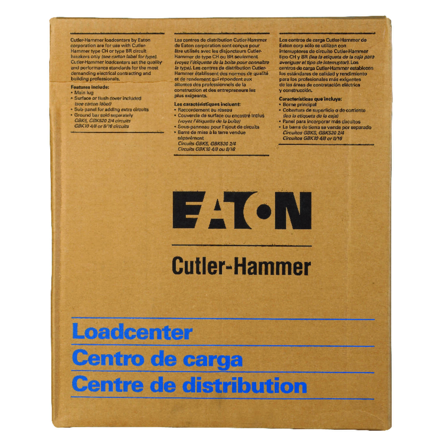 Eaton  125 amps 120/240 volt 4 space 4 circuits Surface Mount  Main Lug Load Center