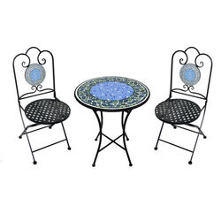 Living Accents Infinity 3 pc. Black Iron Mosaic Bistro Set