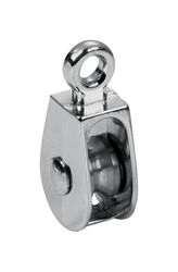 Baron 1-1/4 in. Dia. Electro-Plated Zinc Fixed Eye Single Eye Pulley