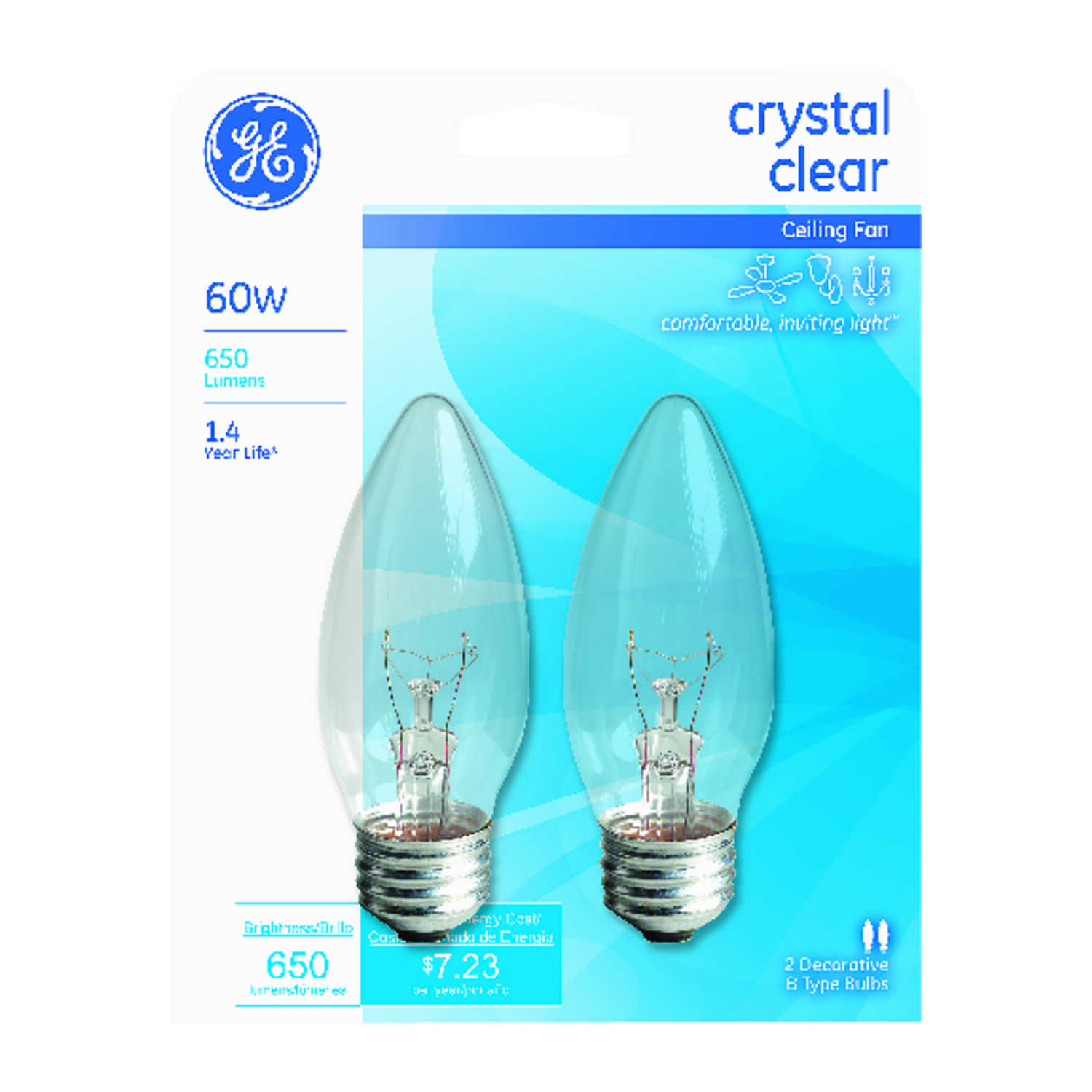 GE  60 watts B13  Incandescent Bulb  650 lumens Cool White  Decorative  2 pk