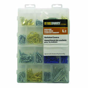 HILLMAN  STEELWORKS L2  Brass-Plated  Assorted  House Holder Kit  50 lb. Brass  1 pk