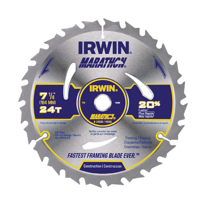 Irwin  Marathon  7-1/4 in.  Carbide  Marathon  Circular Saw Blade  0.047 in. thick  5/8 in.  24 teet