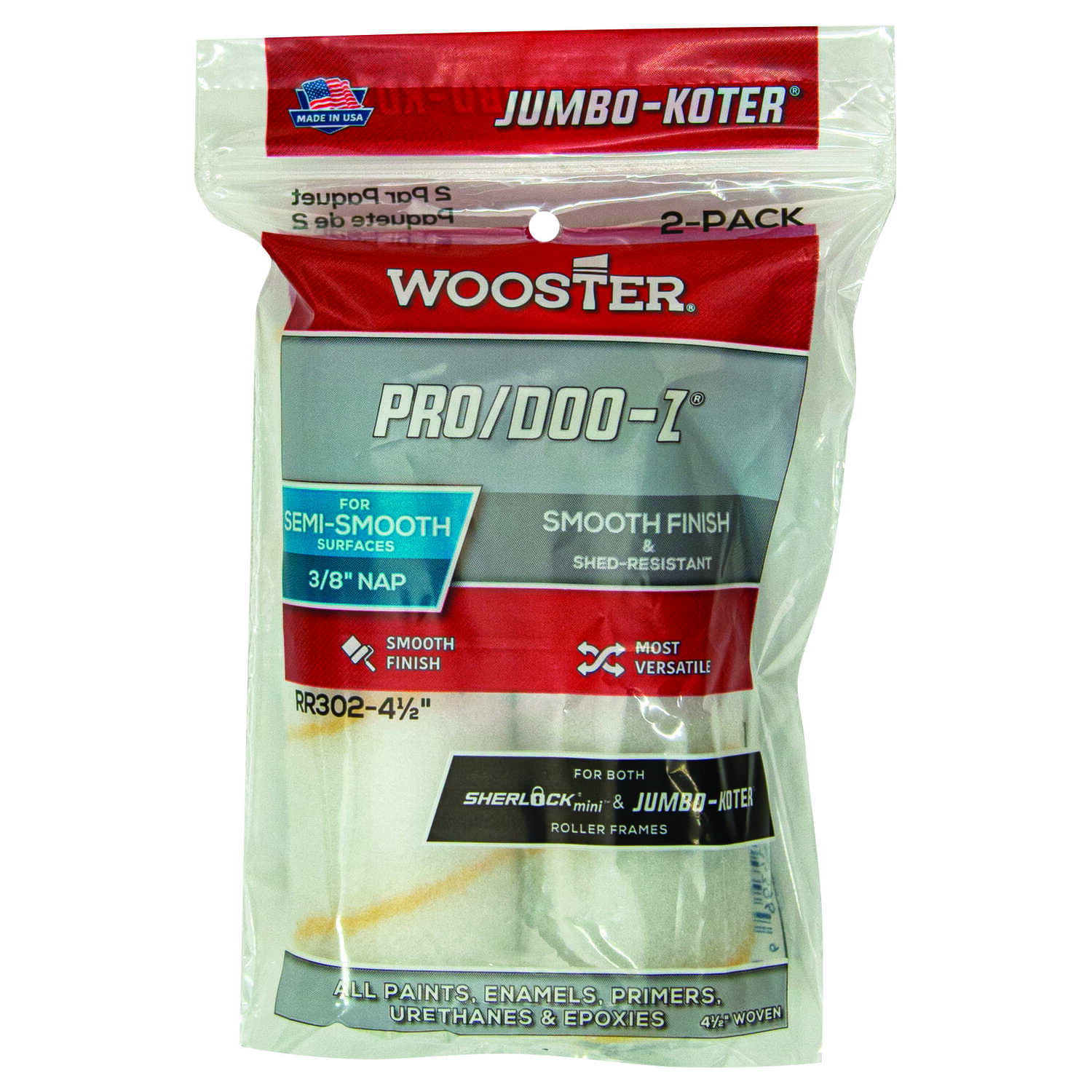 Wooster Pro/Doo-Z Fabric 4-1/2 in. W x 3/8 in. Mini Paint Roller Cover 2 pk