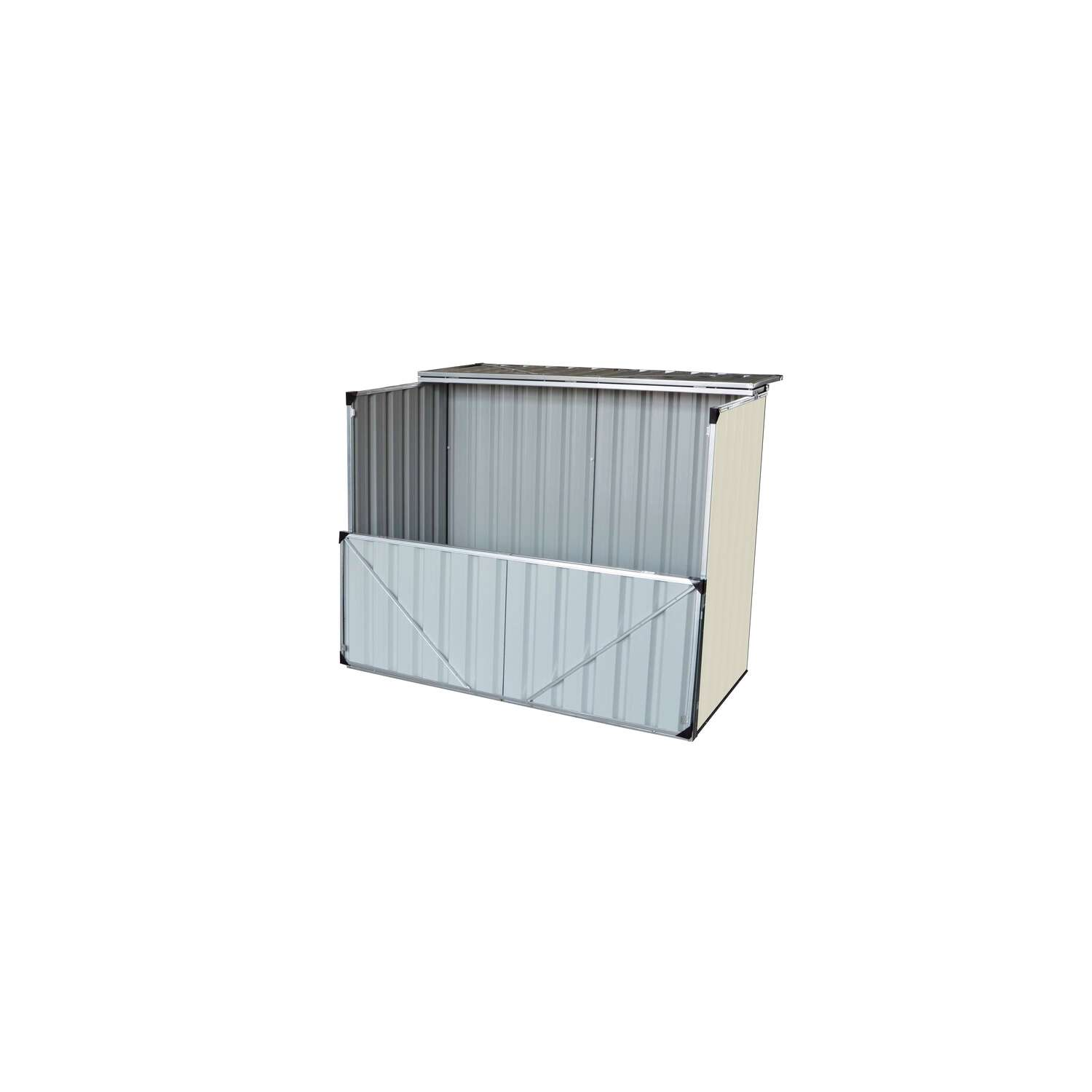 Build-Well  3.5 ft. H x 4.16 ft. W x 3 ft. D Cream  Steel  Outdoor Storage Shed