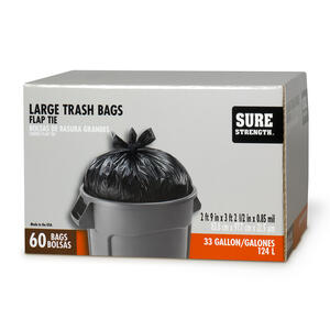 Sure Strength  33 gal. Trash Bags  Flap Tie  60 pk