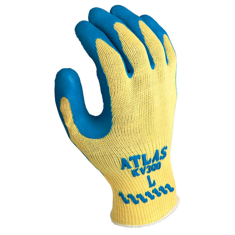 Showa  Atlas  Unisex  Indoor/Outdoor  Kevlar  Coated  Work Gloves  Blue/Yellow  L