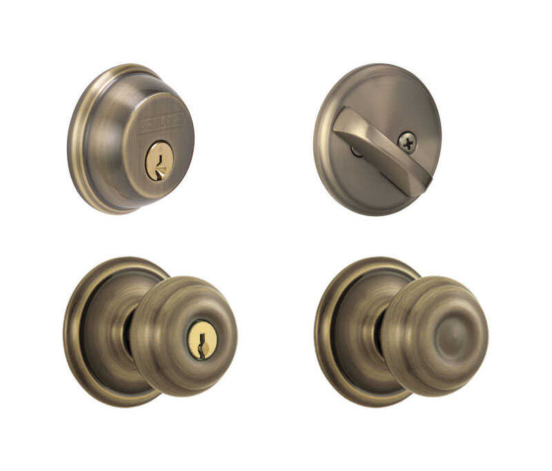 Schlage  Georgian  Antique Brass  Steel  Knob and Single Cylinder Deadbolt  1-3/4 in. ANSI Grade 2
