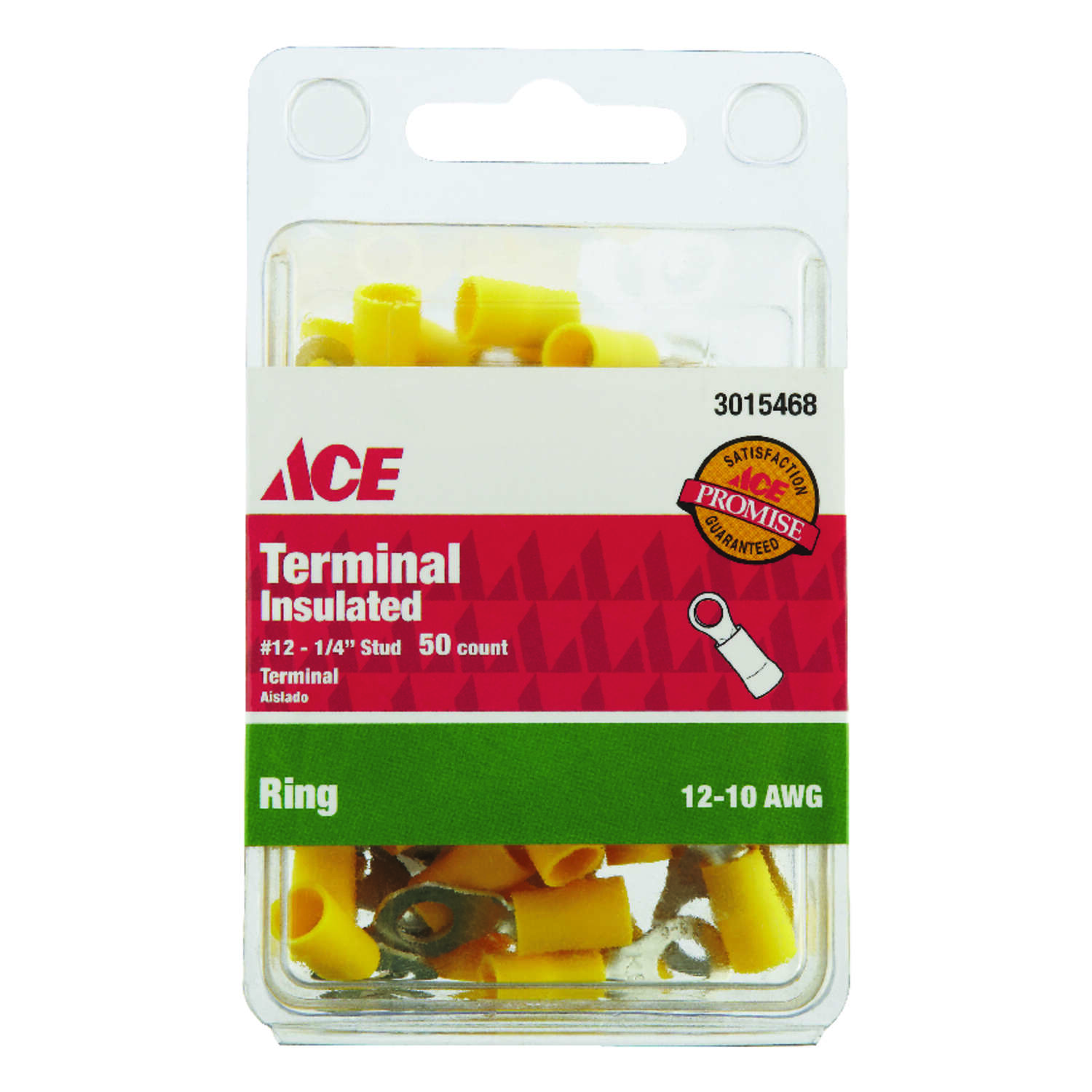 Ace  Ring Terminal  Yellow  50 pk