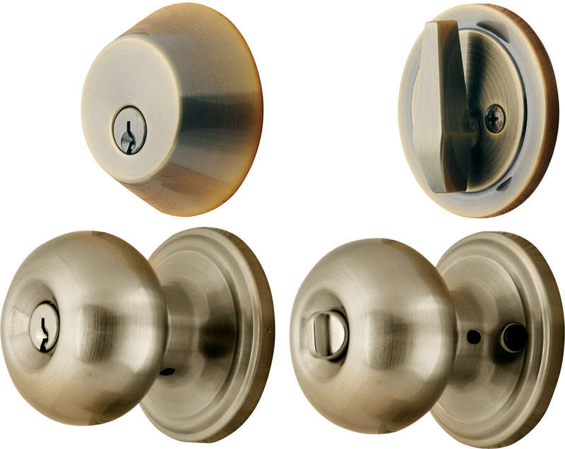 Ace  Colonial  Antique Brass  Steel  Knob and Deadbolt Set  1-3/4 in. ANSI Grade 2