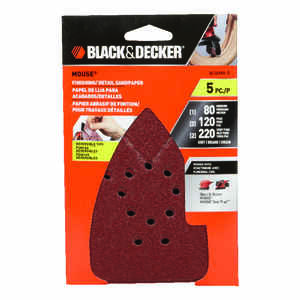 Black and Decker  Mouse  6-11/16 in. L x 4-1/4 in. W 80/120/220 Grit Aluminum Oxide  Sandpaper  5 pk