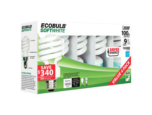 FEIT Electric  ECOBULB  23 watts A19  2.35 in. Dia. x 4.8 in. L CFL Bulb  Soft White  Utility  2700