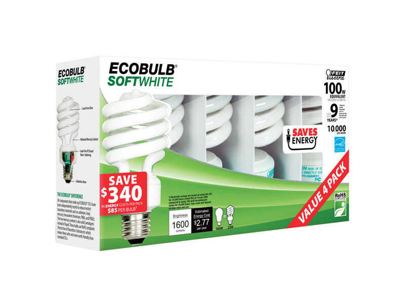 FEIT Electric  ECOBULB  23 watts A19  4.8 in. Soft White  CFL Bulb  1600 lumens Utility  4 pk