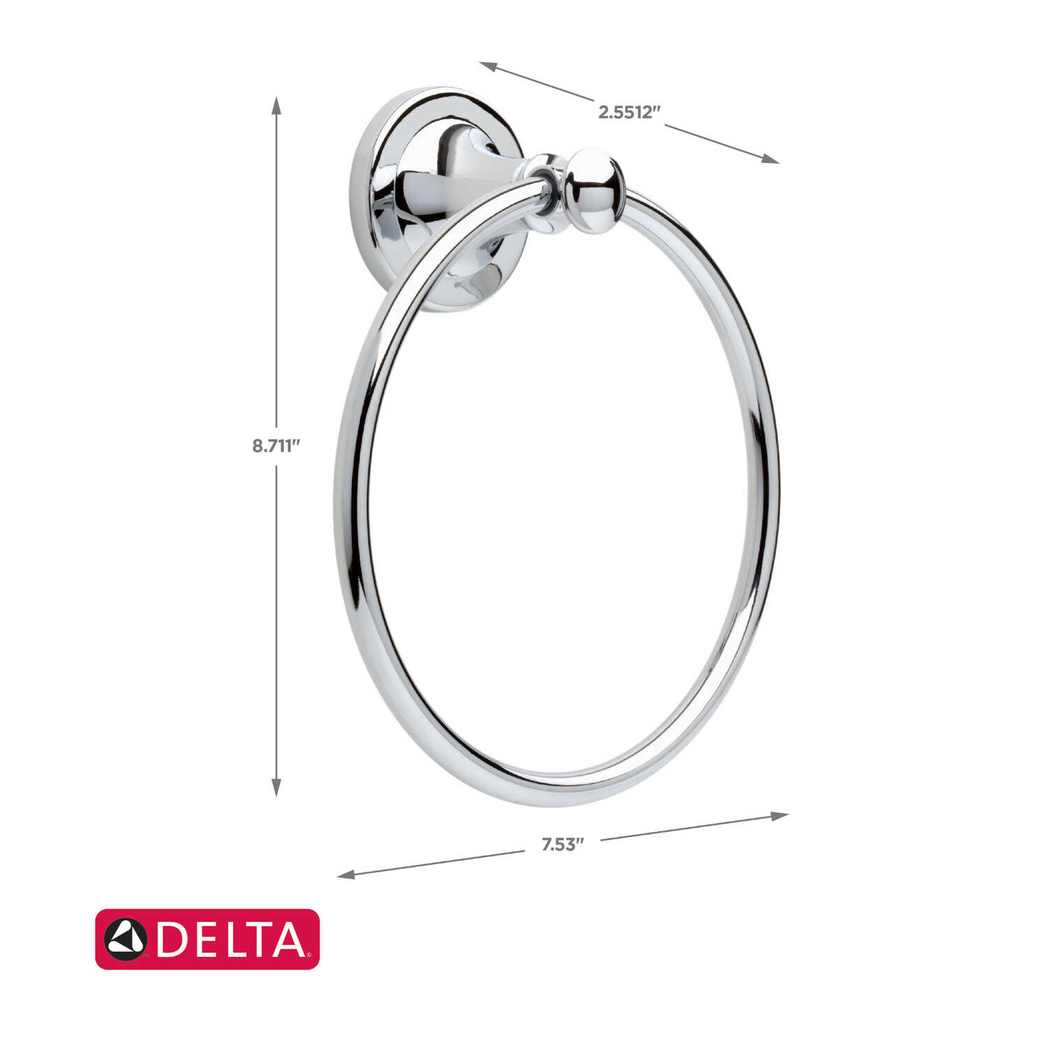 Delta  Silverton Collection  Chrome  Towel Ring  Die Cast Zinc
