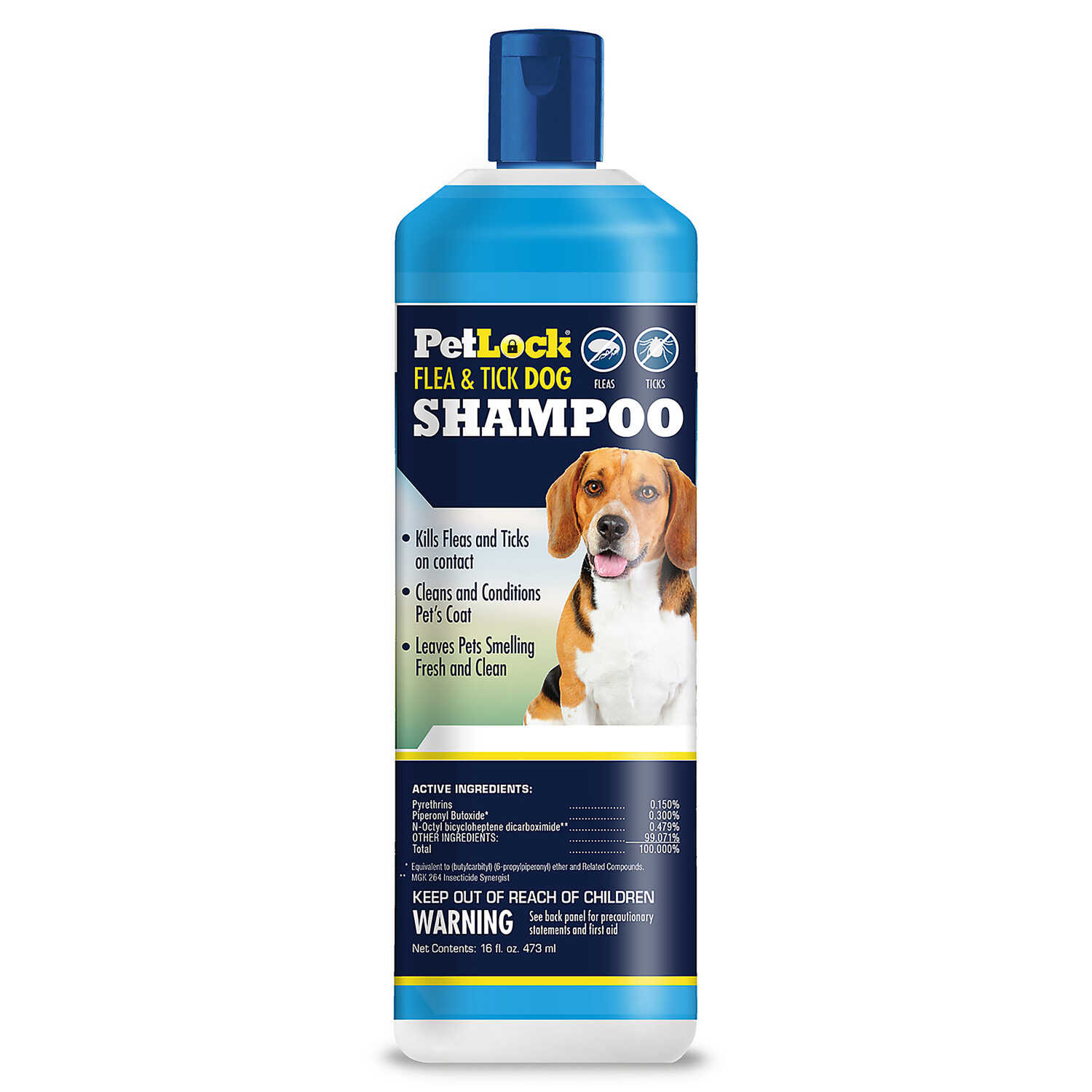 PetLock  Liquid  Dog  Flea and Tick Shampoo  0.10% Permethrin and 0.50% Piperonyl Butoxide  16 oz.