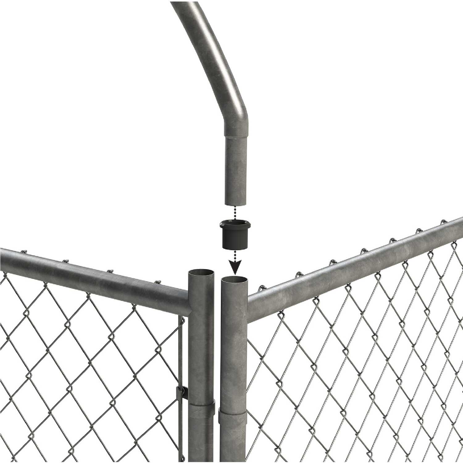 Pet Sentinel  Galvanized Steel  Dog Kennel  Gray  72 in. H x 60 in. W