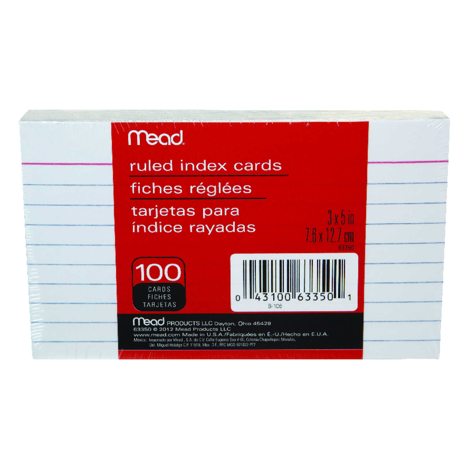 Mead  5 in. W x 3 in. L Ruled Index Cards  100 count