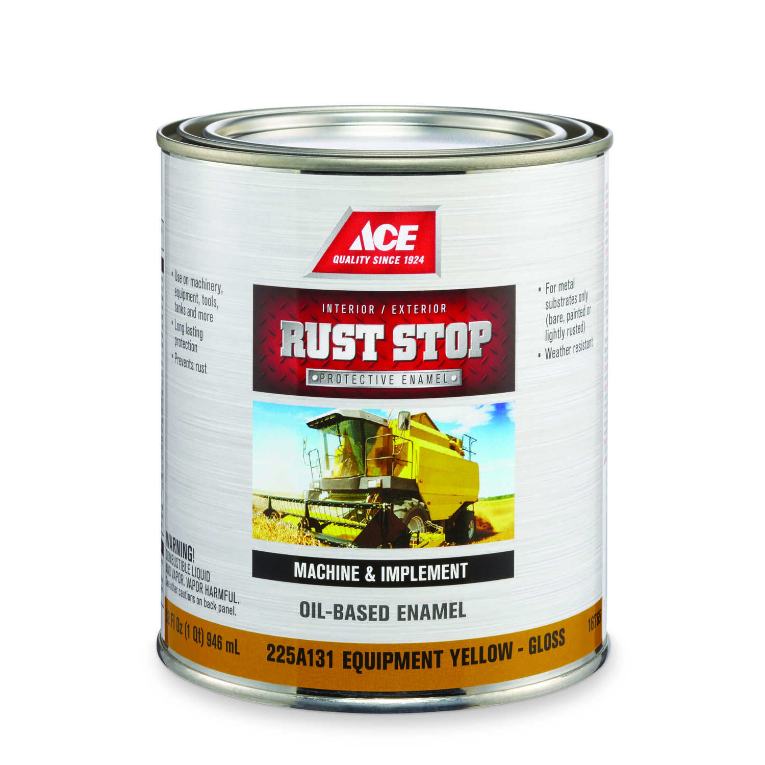 Ace  Rust Stop  Indoor and Outdoor  Gloss  Equipment Yellow  Rust Prevention Paint  1 qt.