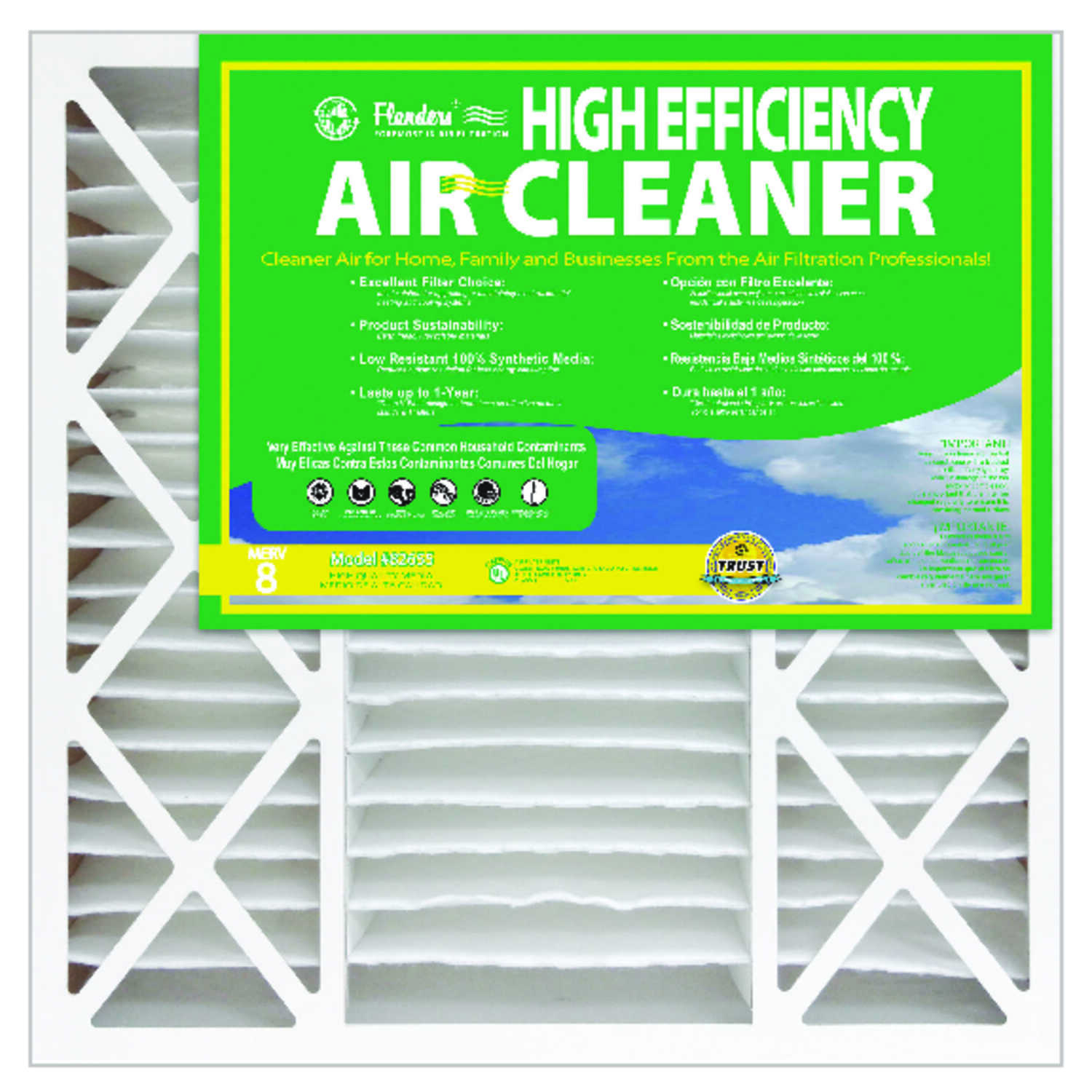 AAF Flanders  Dust Patroller  20 in. W x 25 in. H x 4-1/2 in. D Synthetic  8 MERV Pleated Air Filter