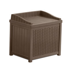 Suncast 22 in. W x 17 in. D Brown Plastic Deck Box with Seat 22 gal.