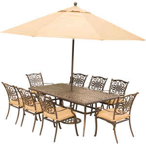 Hanover  9 pc. Bronze  Aluminum  Dining Patio Set  Tan