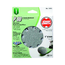 Shopsmith  5 in. Aluminum Oxide  Hook and Loop  Sanding Disc  80 Grit Coarse  15 pk