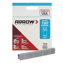 Arrow Fastener  T50  3/8 in. W x 9/16 in. L 18 Ga. Flat Crown  Heavy Duty Staples  1250 pk