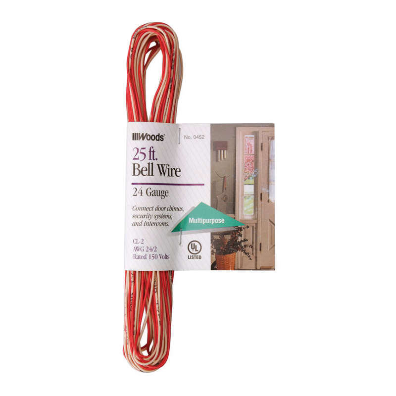 Woods  25 ft. 24/2  Solid  Copper  Bell Wire