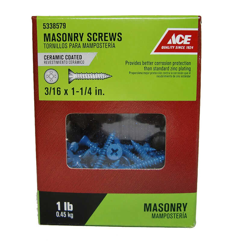 Ace  3/16 in.   x 1-1/4 in. L Phillips  Pan Head Ceramic  Steel  Masonry Screws  1 lb. 140 pk