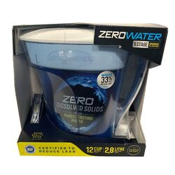 ZeroWater  Ready-Pour  12 cups Blue  Water Filtration Pitcher