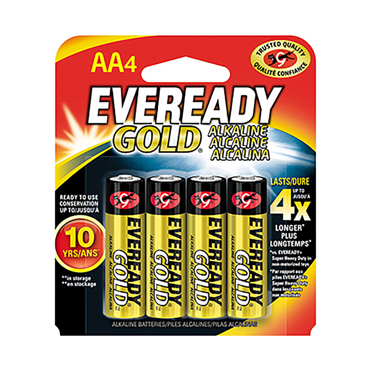 Eveready  Gold  AA  Alkaline  Batteries  1.5 volt 4 pk Carded