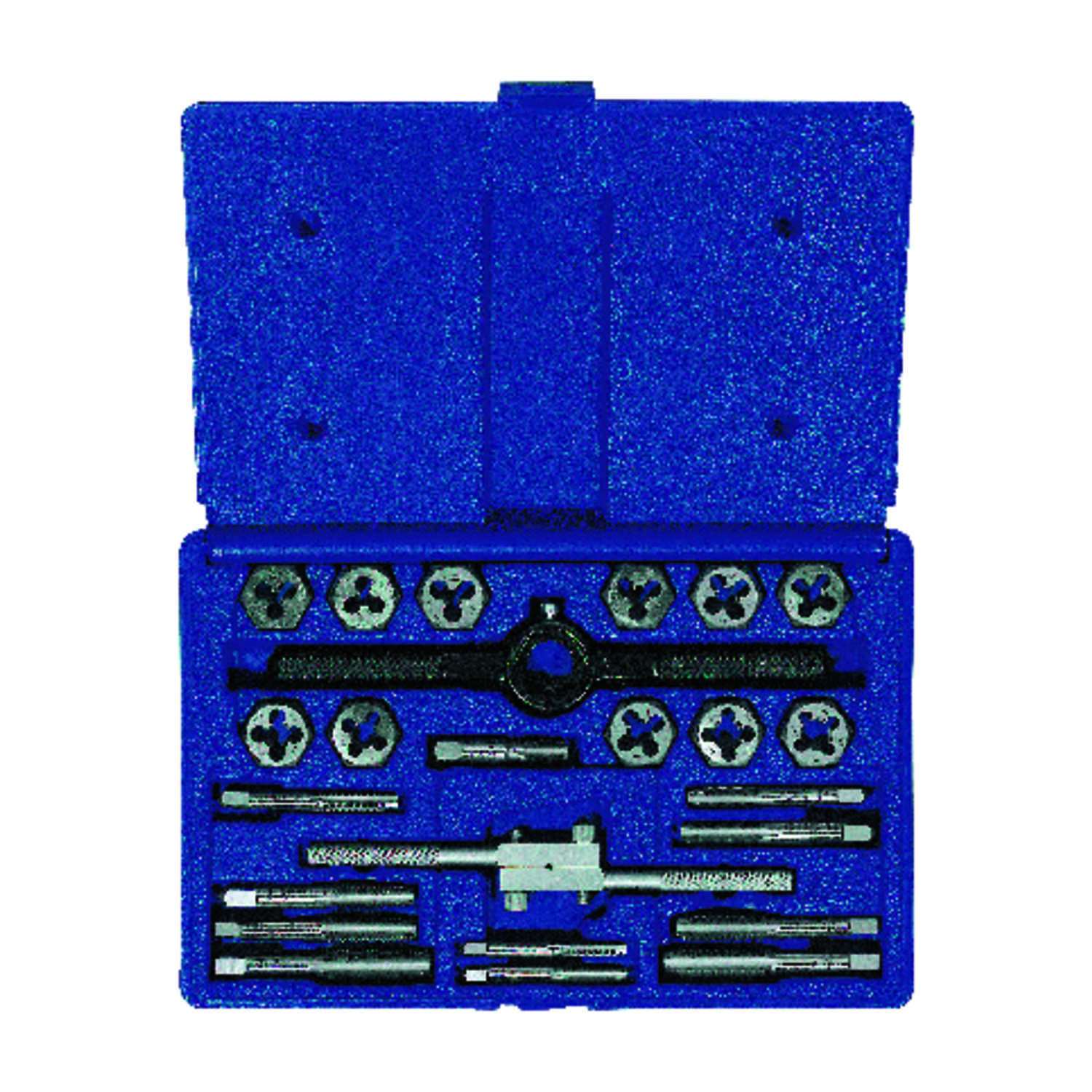 Irwin  Hanson  High Carbon Steel  SAE  Tap and Die Set  1/4 -20NC, 1/4-20NF, 5/16-8NC, 5/16-24NF, 3/
