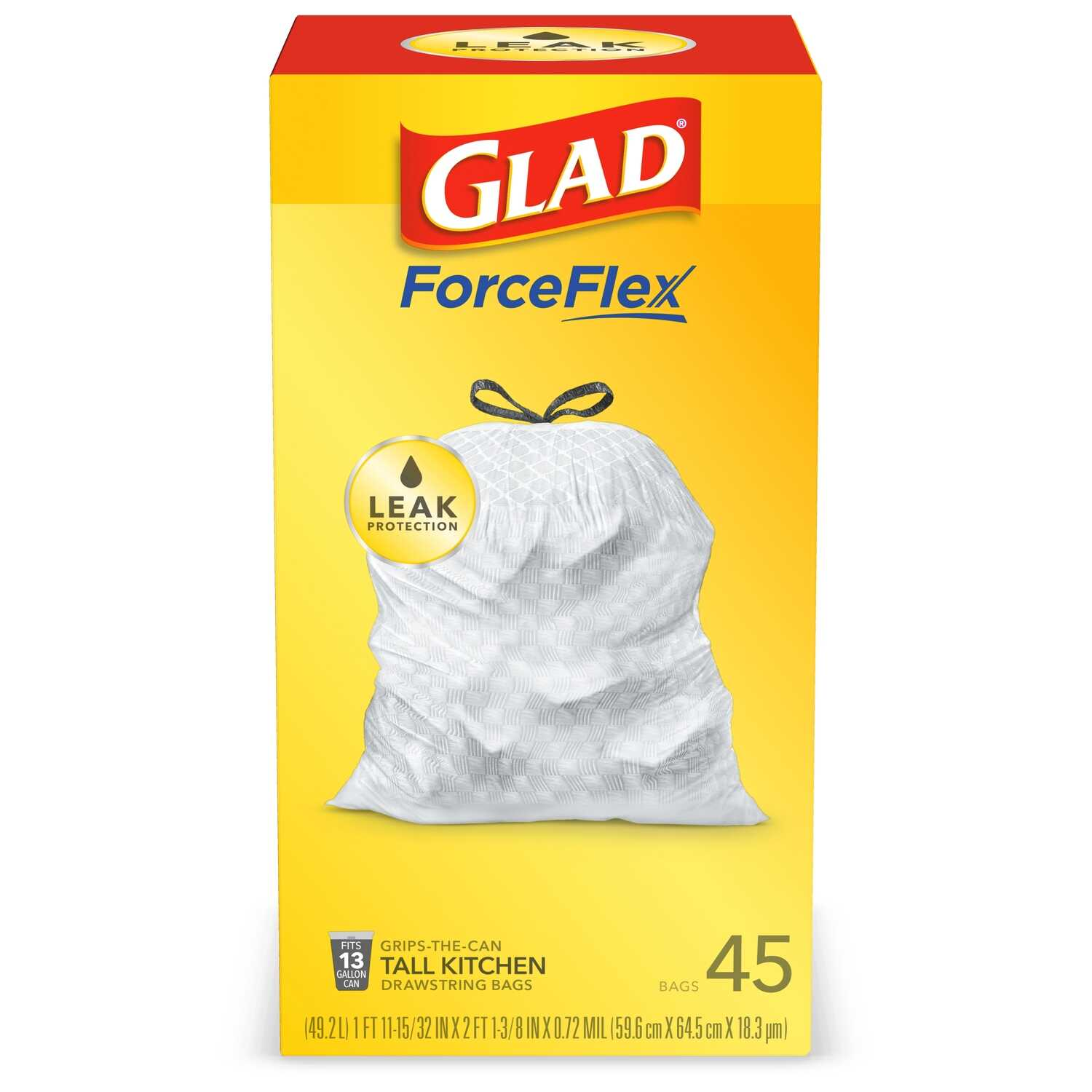 Glad  13 gal. Kitchen Trash Bags  Drawstring  45 pk