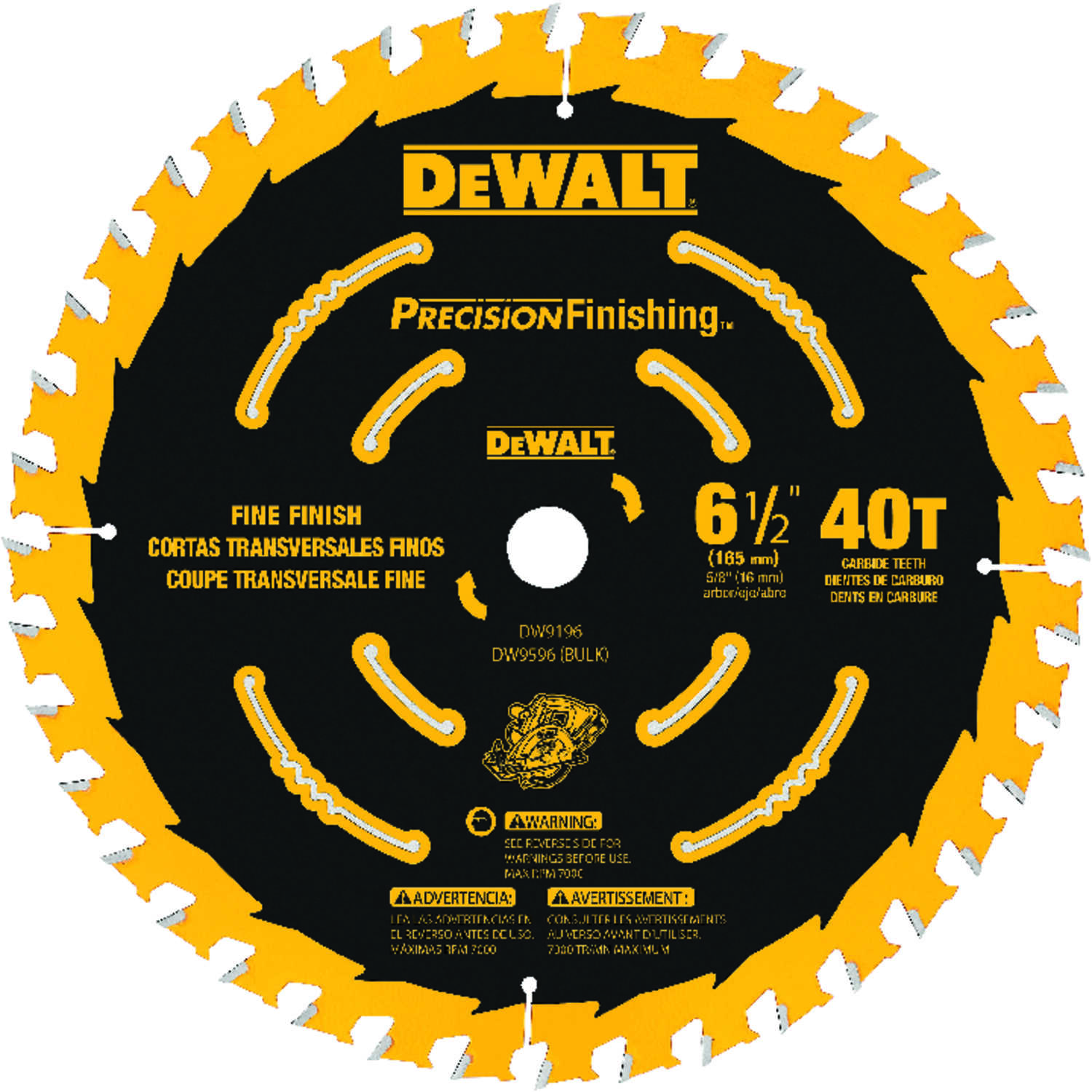 DeWalt  6-1/2 in. Dia. x 5/8 in.  Carbide Tipped  Circular Saw Blade  40 teeth 1 pk
